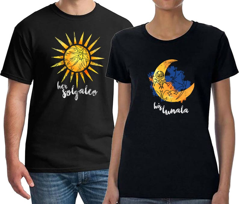 5a312aa2 Couples Shirts Pokemon Solgaleo and Lunala Honeymoon | Etsy