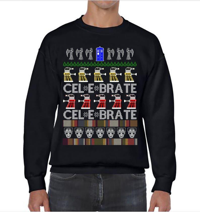 Dr Who Christmas Sweater.Ugly Christmas Sweater Dr Who Doctor Who Ugly Christmas Party Dc Who Sweatshirt Ugly Sweater Party Ugly Sweater