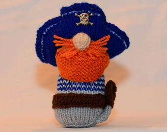 Hand Knitted Pip the pirate, Plush softie sailor, Big Nose collectible, Toy