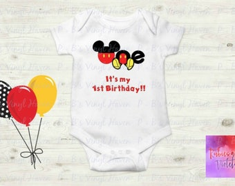 Birthday Its My 1st With Mickey Mouse Feet One Shirt Onesie Baby Photos 1s Gift