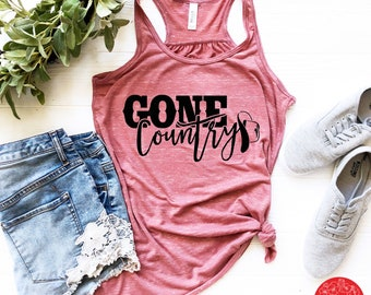 e8df2c5ab2fc7 Alan Jackson Racerback Tank  Gone Country  with Cowboy Hat Country  Tank Country Music Concert Tank Southern Girl Summer Tank Whiskey Girl