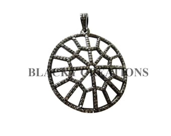 925 Sterling Silver 2.5 ct Pave Diamond Spider Web Pendant Jewelry