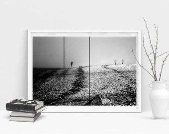 Fine Art Poster Print: Inbetween - photography - black and white - art - art print mist - fog - melancholy