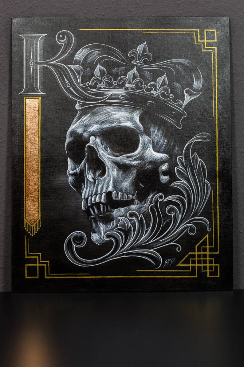 FALLEN KING acrylic paint on canvas panel 40x50 cm image 0