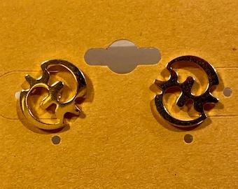 Gye Nyame Stud Earrings / Adinkra Symbol - Stainless Steel, Gold Plated