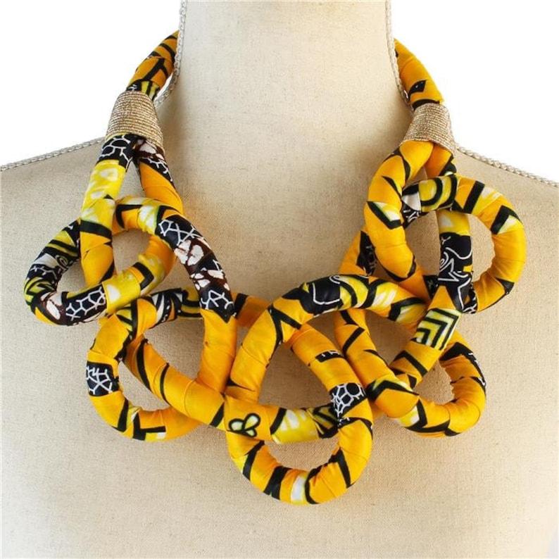 African / Ankara Print Bib Necklace for Women  Yellow image 0