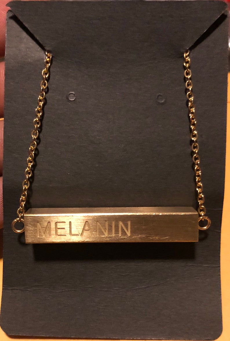 MELANIN necklace  24k Gold Plated Stainless Steel image 0