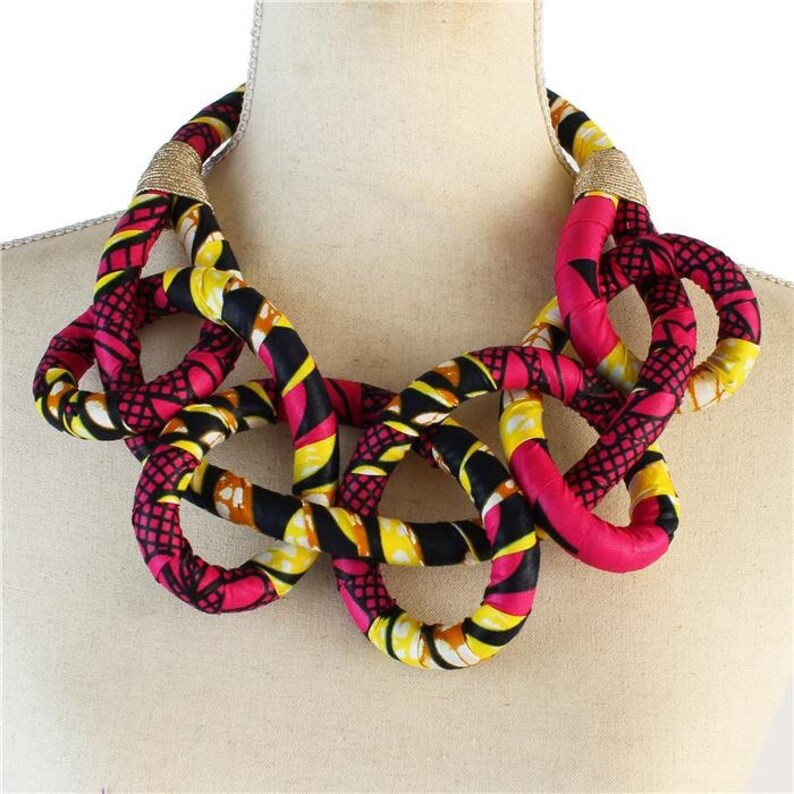 African / Ankara Print Bib Necklace for Women  Pink image 0