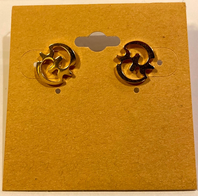 Gye Nyame Stud Earrings / Adinkra Symbol  Stainless Steel image 0