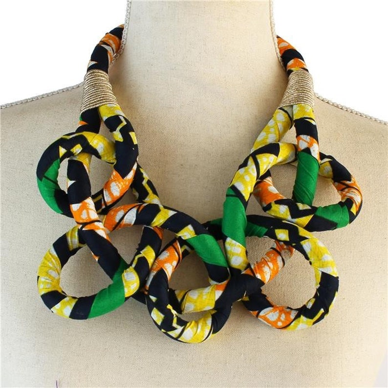 African / Ankara Print Bib Necklace for Women  Green image 0