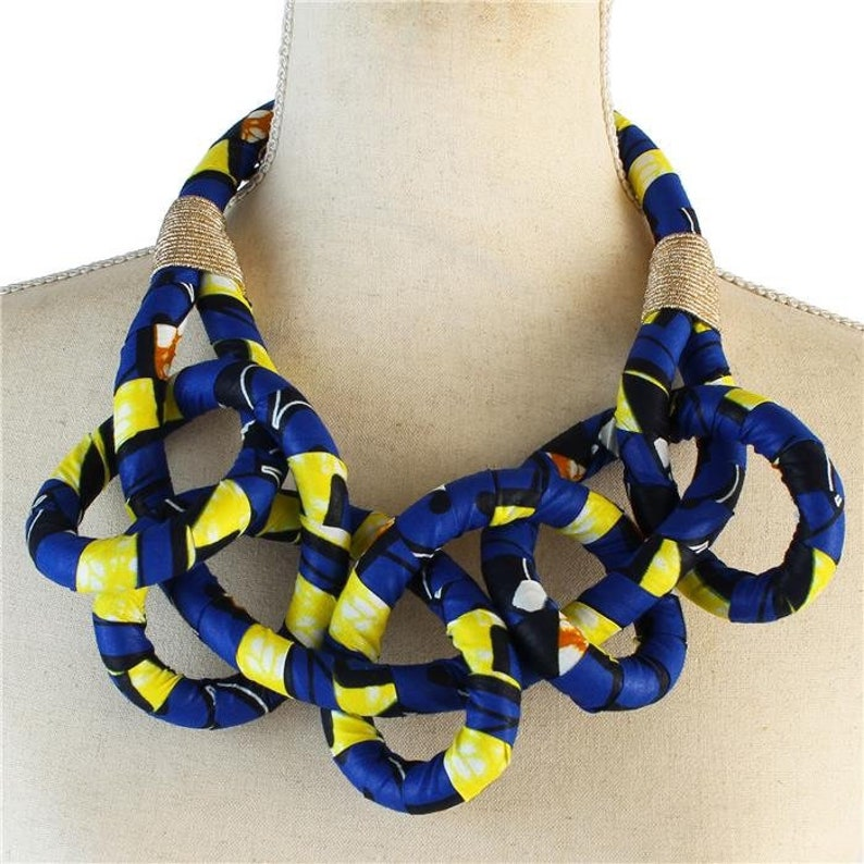 African / Ankara Print Bib Necklace for Women  Blue image 0
