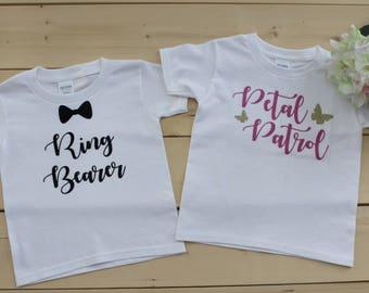Petal Patrol T-Shirt and Ring Bearer T-Shirt, Flower Girl Shirt, Ring Bearer Shirt, Petal Patrol Onesie, Ring Bearer Bodysuit