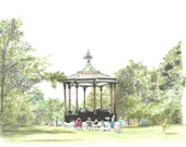 The Greenwich Bandstand watercolour painting. Original, unique, one of a kind.