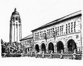 Graduation Gift, Hoover Tower, Stanford University. Original pen and ink drawing signed by the artist. NOT a Print !!