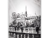 Notre Dame Charcoal Drawing Original Fine Art Print A3/A4