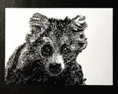 Tanuki Racoon Dog – An Original Artwork Ink Drawing/Painting on A5, Animal Wall Art, a Truly Unique One Off Gift - only one available!