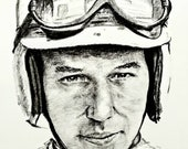John Surtees ORIGINAL ARTWORK PORTRAIT, genuine unique drawing, not a giclee print!! A motorsport legend piece of art for framing & hanging.