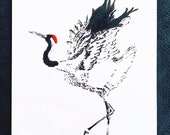 Red Crowned Crane – An Original Artwork Ink Drawing/Painting on A5, Animal Wall Art, a Truly Unique One Off Gift - only one available!