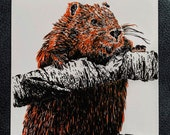 Eager Beaver – An Original Artwork Ink Drawing/Painting on A5, Animal Wall Art, a Truly Unique One Off Gift - only one available!