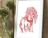 "Original Ink Drawing Brush Painted Red on A5. ""Curly Red"" Fashion Portrait Wall Art, Unique Artwork Gift - only One available !!"