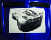 Lotus Exige Cup. One off. Unique. Hand-drawn Giclée Artwork. OOAK.