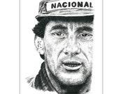 Ayrton Senna Original Pencil Portrait A4 / A3 Fine Art Print Poster