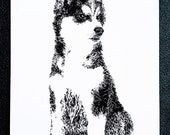 Husky Puppy Pup Dog – An Original Artwork Ink Drawing/Painting on A5, Animal Wall Art, a Truly Unique One Off Gift - only one available!