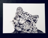 Snow Leopard – An Original Artwork Ink Drawing/Painting on A5, Animal Wall Art, a Truly Unique One Off Gift - only one available!