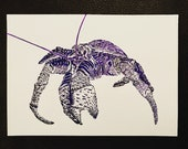 Robber / Coconut Crab – An Original Artwork Ink Drawing/Painting on A5, Animal Wall Art, a Truly Unique One Off Gift - only one available!