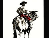 Cowboy Dan – An Original Artwork Ink Drawing/Painting on A5, Animal Wall Art, a Unique One Off Gift - only one available ever !!