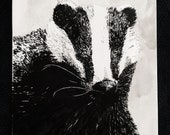 That's the Badger – An Original Artwork Ink Drawing/Painting on A5, Animal Wall Art, a Truly Unique One Off Gift - only one available!