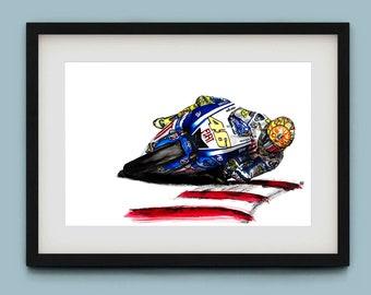 Valentino Rossi 'The Doctor' Watercolour Art Print Alternate Version