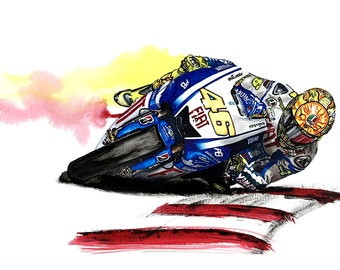 Valentino Rossi The Doctor - an Original Watercolour Painting on cold pressed A3 card.