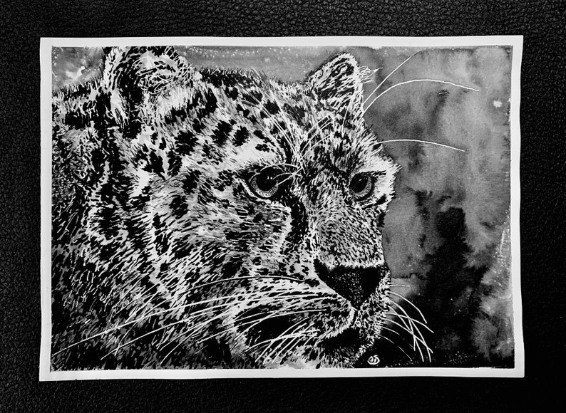 Amur Leopard  An Original Artwork Ink Drawing/Painting on A5 image 0
