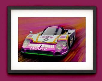 Jaguar XJR9 Painting Le Mans - A3/A4 Lustre Art Print