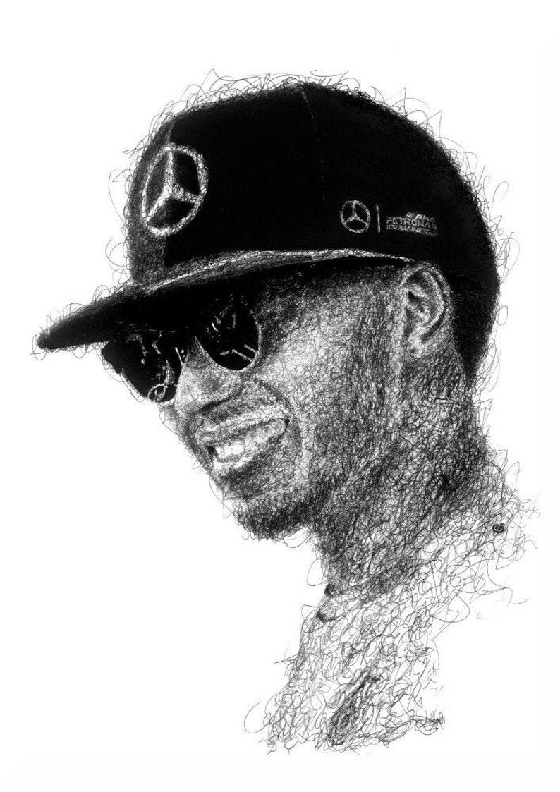 Lewis Hamilton F1 Champion Original Drawing Fine Art Print A3 image 0