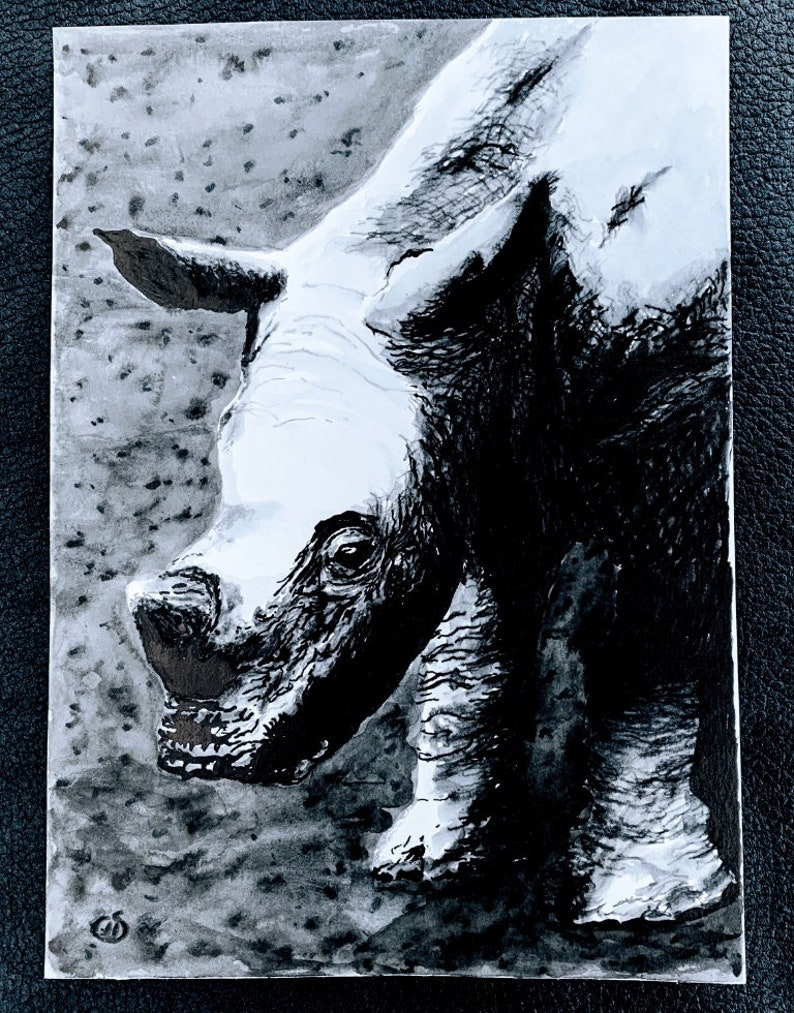 White Rhino  An Original Artwork Ink Drawing/Painting on A5 image 0
