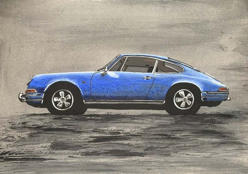 Classic Porsche 911 Acrylic Painting. Signed. Ideal for sports image 0
