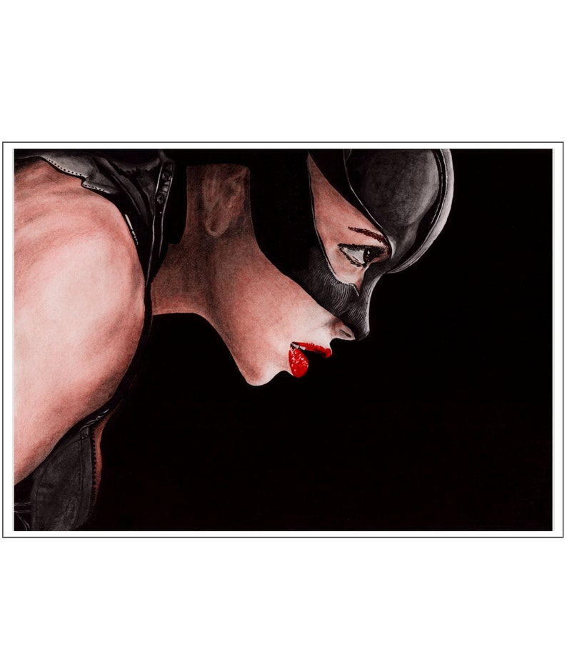 Catwoman A4/A3 Portrait Art Print from Original Pencil and Ink image 0