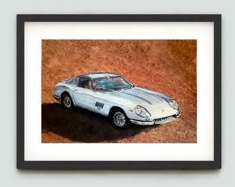 Ferrari 275GTB/4 Original watercolour painting. Supercar artwork. Signed. Supercar wall art, A4 size, buy direct from artist.