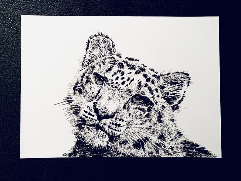 Snow Leopard  An Original Artwork Ink Drawing/Painting on A5 image 0