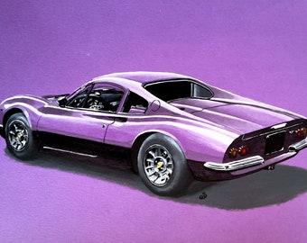Ferrari Dino Purple Acrylic Painting, a genuine one off wall art. Signed.