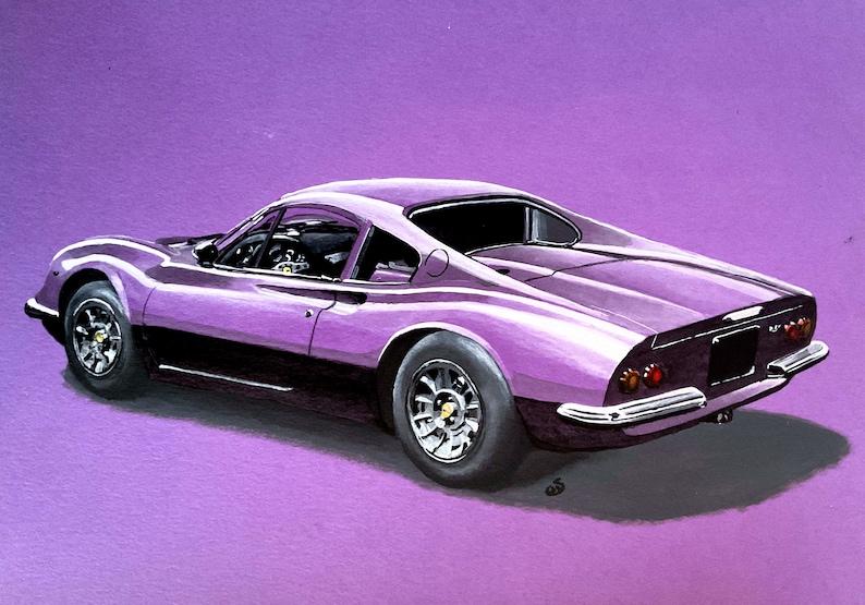 Ferrari Dino Purple Acrylic Painting a genuine one off wall image 0