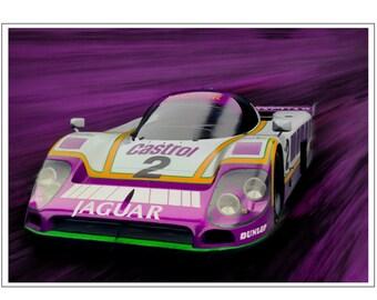 Jaguar XJR9 Painting Le Mans - Dark Purple Art Print