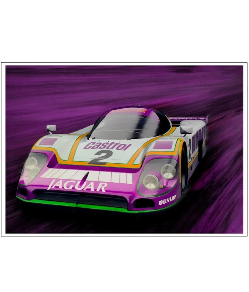 Jaguar XJR9 Painting Le Mans  Dark Purple Art Print image 0