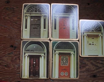 5 coasters French bistro irish doors bar coasters printed doors Ireland Dublin nostalgic memories