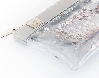 Pencil Case, Rose Gold Pencil Case, Clear Pencil Case, Pencil Pouch, Zipper Pouch Pencil Case, Pencil Bag, Sequin Clear Case, Trendy Gift