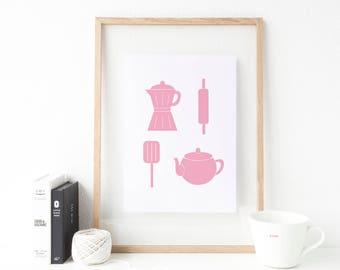Pink Kitchen Utensils Print. Pink Kitchen Print. Pink Coffee Print. Coffee  Print. Tea Print. Pink Kitchen Decor. Pink Kitchen Poster
