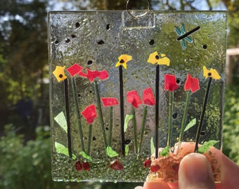 Make a fused glass suncatcher at home, Glass garden suncatcher project, DIY glass fusing kit, Firing included in cost