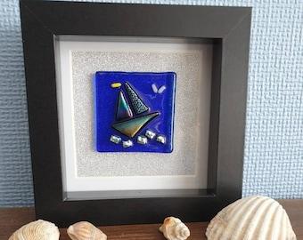 Sailing boat art, Dichroic wall art, Fused glass sailing scene, Fused glass wall art